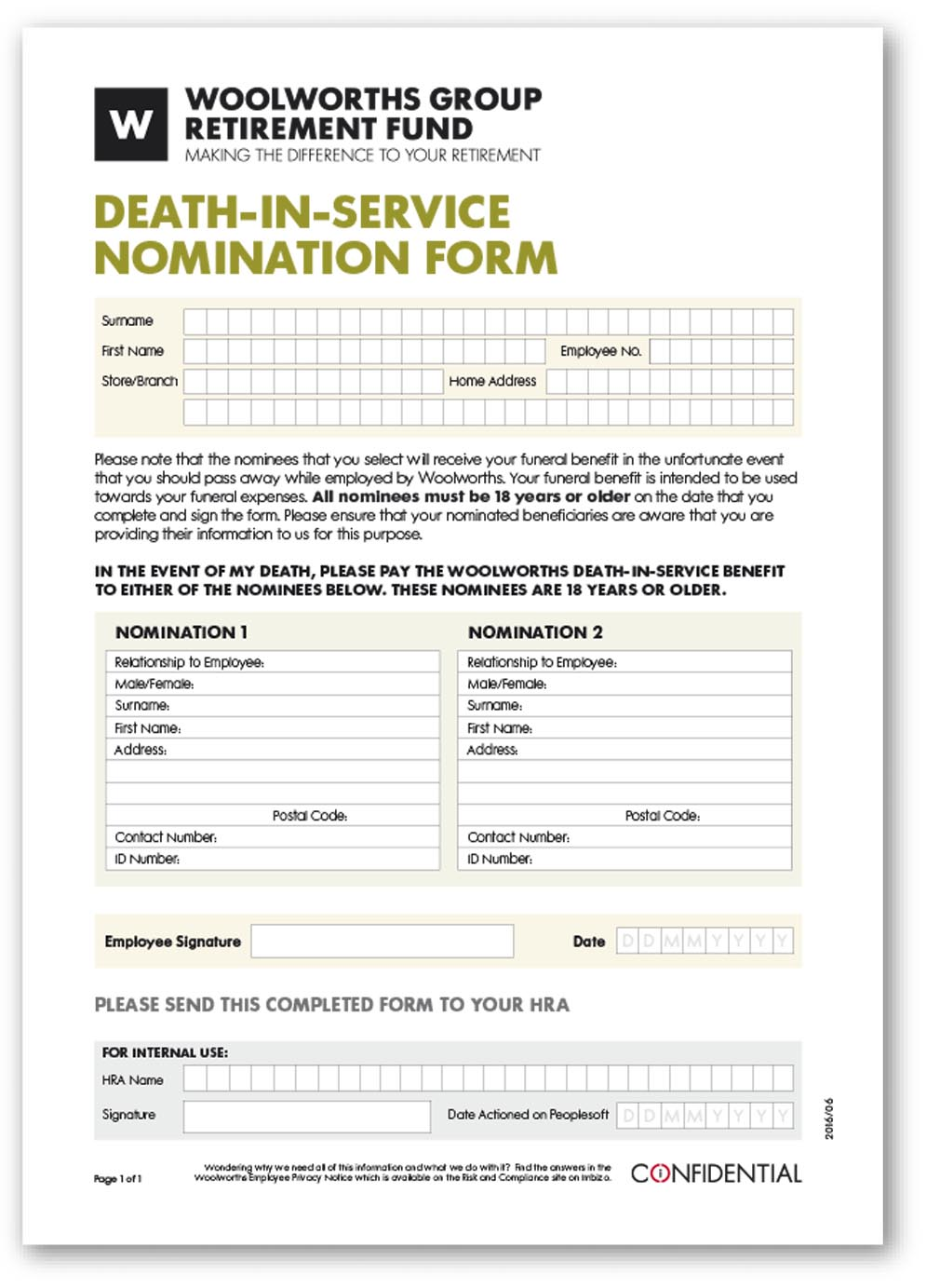 Death-In-Service Nomination